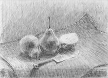 Peras y un pequeño cuchillo ilustración del vector