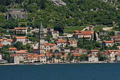 Perast. Town view from sea Stock Image