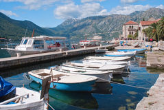 Perast bay. The view to the bay of the Perast city with boats Royalty Free Stock Photos