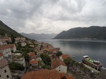 Perast and Bay of Kotor. Town of Perast, Bay of Kotor and Lovcen mountain royalty free stock photo