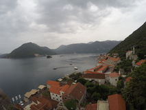 Perast and Bay of Kotor. Town of Perast, Bay of Kotor and Lovcen mountain stock image