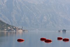 Perast and Church Stock Photo