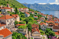 Perast city. The view to the Perast city from the top of the bell tower Royalty Free Stock Photography