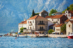 Perast city, Montenegro, August 25, 2015: View of the old historical buildings. Popular touristic attraction Royalty Free Stock Image