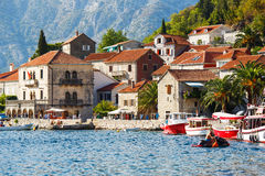 Perast city, Montenegro, August 25, 2015: View of the old historical buildings. Popular touristic attraction Stock Photography