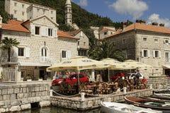 Perast i fjärden av Kotor, Montenegro Arkivfoto