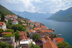 Perast-Landschaft, Kotor-Bucht, Montenegro Lizenzfreie Stockfotos