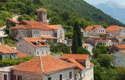 Perast landskap, Kotor fjärd, Montenegro royaltyfri bild