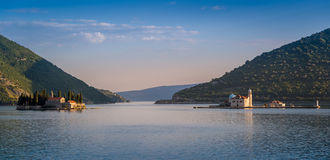 Perast monasteru wyspy evening panoramę Obraz Royalty Free