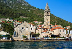 PERAST, MONTENEGRO. Beautiful landscape with mediterranean town Stock Photography