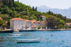 PERAST, MONTENEGRO - July 8, 2015: Village Perast on coast of Boka Kotor bay. Montenegro. Adriatic sea Stock Photo