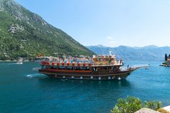 Perast, Montenegro - June 10. 2019. Beautiful Excursion Boat In A Boka-Kotorska Bay Royalty Free Stock Image