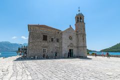 Perast, Montenegro - June 10. 2019: Church Of Our Lady Of Rocks On Island Of Gospa Od Skrpjela Royalty Free Stock Photos