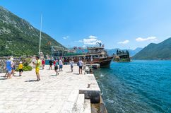 Perast, Montenegro - June 10. 2019: Tourists On Artificial Island Of Gospa Od Skrpjela Stock Photo