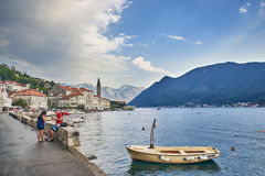 Perast, Montenegro. Kotor bay, Cattaro, is a winding bay of the Adriatic Sea in southwestern Montenegro Stock Image