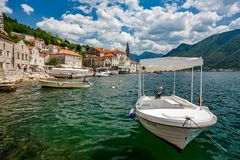 Scenery and peaceful Perast, Montenegro royalty free stock photos