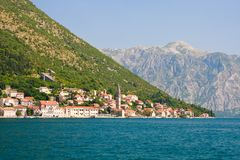 Perast panoramic view, Kotor Bay Royalty Free Stock Photo