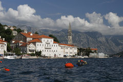 Perast port. Historic town Perast in Montenegro Stock Photo