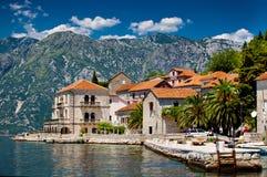 Perast Stadt in Montenegro Stockfotos