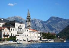 Perast town. Beautiful view of Perast, town in Boka Kotorska bay Stock Photos