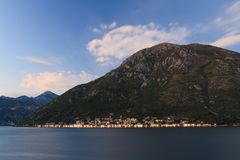 Perast town in the evening. Kotor Bay, Montenegro Stock Photo