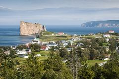 View of the Perce Rock and the Bonaventure Island in Canada stock photos