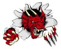 Percée rouge de griffe de dragon Images libres de droits
