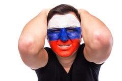 Perca emoções do jogo do fan de futebol do russo no apoio do jogo da equipa nacional de Rússia Foto de Stock Royalty Free