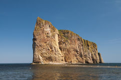Perce Rock. With water covering the walk way across Royalty Free Stock Image