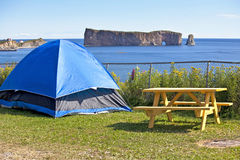 Perce Rock Camping. Camping with a view of Perce Rock, Gaspe, Quebec, Canada royalty free stock photo