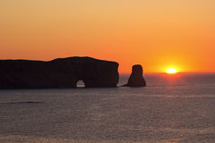 Perce Rock on the Gaspesie Peninsula of Quebec in Canada. Perce Rock in the Gulf of Saint Lawrence on the tip of the Gaspé Peninsula in Quebec in Canada Royalty Free Stock Photo