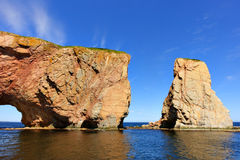 Perce Rock at high tide royalty free stock photo