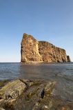 Perce Rock Scenic. Perce Rock with copy space in the intense blue sky and rock formation in the foreground Stock Photos