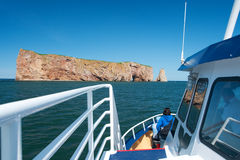 Perce Rock seen from a boat Royalty Free Stock Photos