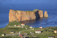 Perce Rock and village, Gaspesie, Quebec Royalty Free Stock Photo