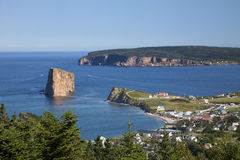 Perce Village and Rock Stock Image