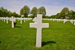 Perceel met Kruisen, de Amerikaanse Begraafplaats Margraten van Nederland Stock Afbeeldingen
