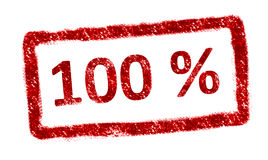 Percent. 100 % red stamp over white background. Vintage mark Royalty Free Stock Photography