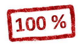 Percent. 100 % red stamp over white background. Vintage mark royalty free illustration