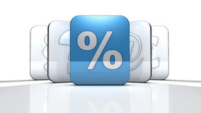 Percent. Rendering of a white percent sign on a reflective ground Stock Photos