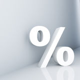 Percent. Rendering of a white percent sign on a reflective ground Royalty Free Stock Image