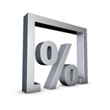 Percent. Rendering of a silver percent symbol on a white background Stock Photos