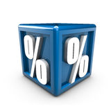 Percent. Rendering of percent symbols on a blue cube Stock Image