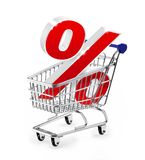 Percent. Shopping cart with percent sign Royalty Free Stock Photo