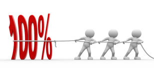 Percent. 3d people - men, person  and a 100% - percent. To Success stock illustration