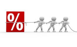 Percent. 3d people - men, person and discount sign. %. To Success Stock Images