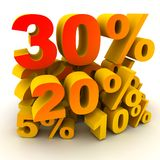 Percent 30. Mountain various percents (yellow-red colour,done in 3d Royalty Free Stock Images