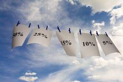 Percent. Sky high sales concept  shot Stock Photos