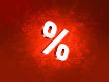 Percent. Sale on red background Royalty Free Stock Photo