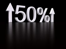 Percent. 50 percent on black. 3d Royalty Free Stock Photos
